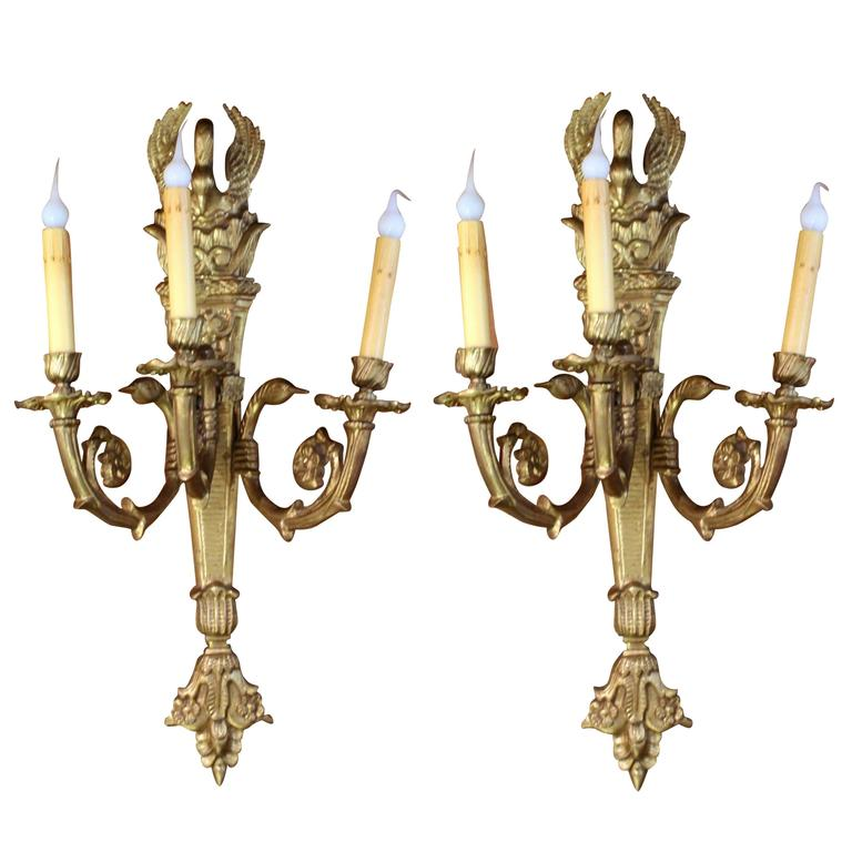 Brass Wall Sconces Electric : Pair of Cast Brass Empire Style Electric Sconces For Sale at 1stdibs