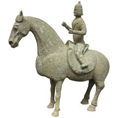 6th Century Pottery Horse and Rider from the N. Chi Dynasty