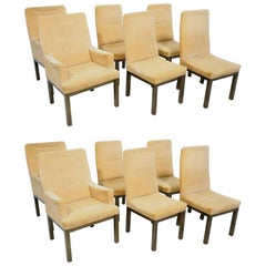 Set of 10 Minimalist Bronze Dining Chairs by Mastercraft