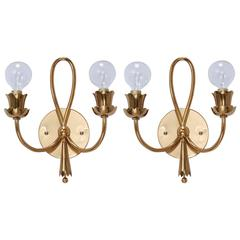 Late 1940s Botanical Sconces