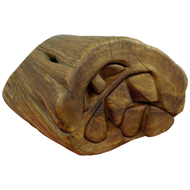 Hand Carved Organic Jewelry Box For Sale