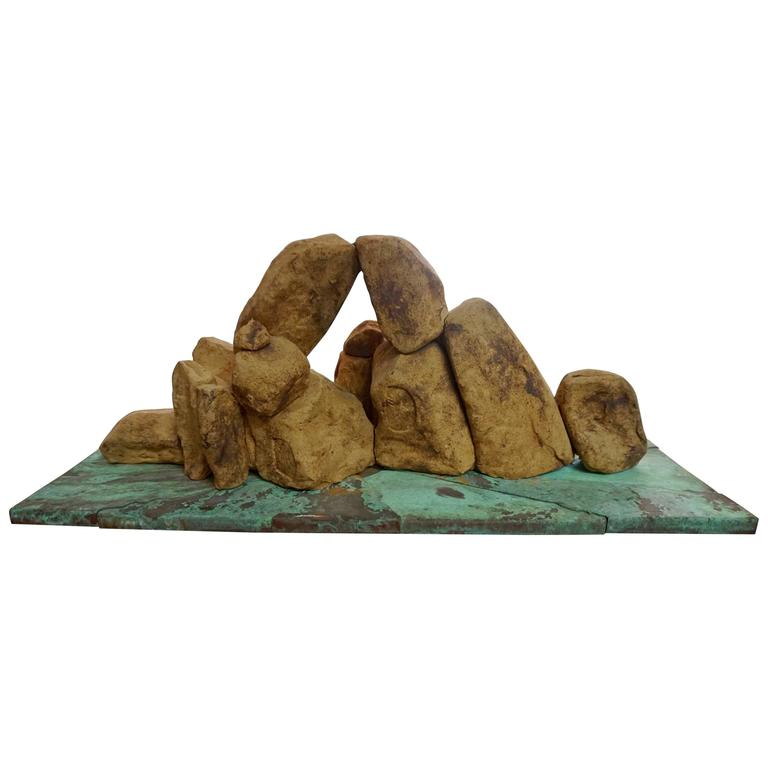 Handcrafted Ceramic Rock Sculpture For Sale
