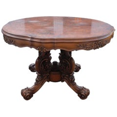 Mid Century Baroque Style Carved Wood Centre Table with Marquetry Inlay Top