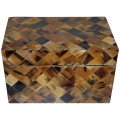 Late 20th Century Wooden W. Faux Tortoiseshell Square Design Inlay Treasure Box
