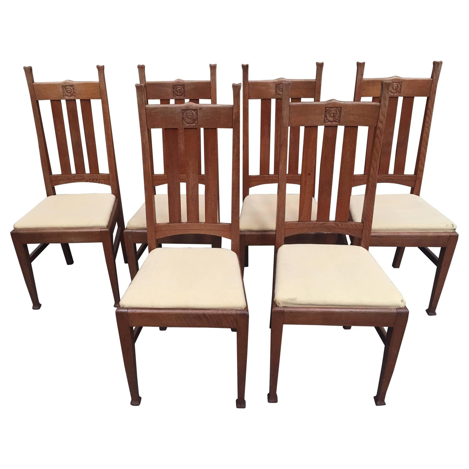Set of Six Oak E A Taylor Glasgow School Chairs by Wylie and