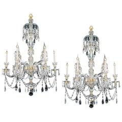 Pair of Six Light Ormolu-Mounted Cut Glass Chandeliers in Adam Style