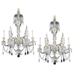 Pair of Six Light Ormolu-Mounted Cut Glass Chandeliers in Adam Style
