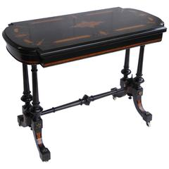 19th Century Ebonized Fold over Card Table