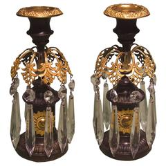 Pair of Regency Period Bronze and Ormolu Lustre Candlesticks