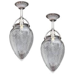 Small Pair of Diamond and Fan Cut Hall Lanterns