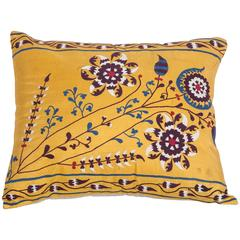 Antique Pillow Made Out of an Early 20th Century Uzbek Samarkand Silk Suzani