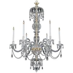 Fine Quality Six Light Crystal Chandelier in Adam Style