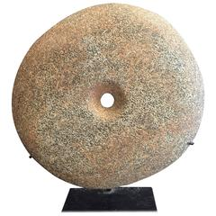 Ancient Stone Bi Disc from Early Africa Private Collection with Custom Stand