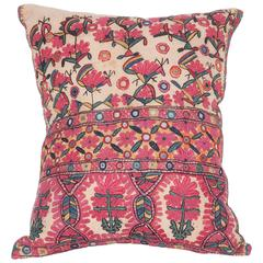 Antique Pillow Made Out of a Late 19th Century Sind Embroidery