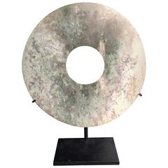 Important Ancient Chinese Heavenly Jade Bi Disc with Cloud Pattern
