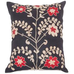 Vintage Pillow Made Out of an Mid-20th Century Uzbek Samarkand Suzani