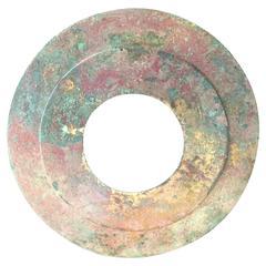 Important Ancient China Gilt Bronze Bi Disc, Han Dynasty '220 BC- 220 AD'