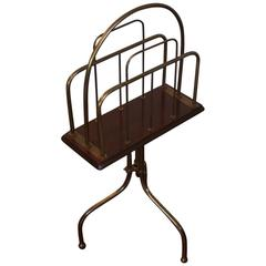 Early 20th Century Brass and Wood Rotating Magazine Stand or Rack, circa 1910