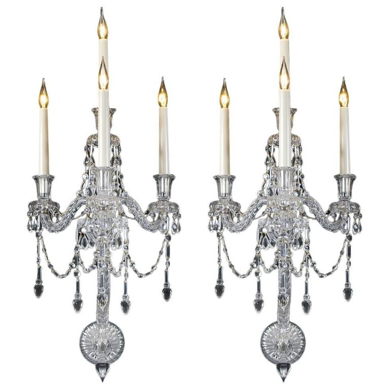 Unusual Pair of Four-Light Mid Victorian Cut-Glass Wall Light by F&C Osler For Sale