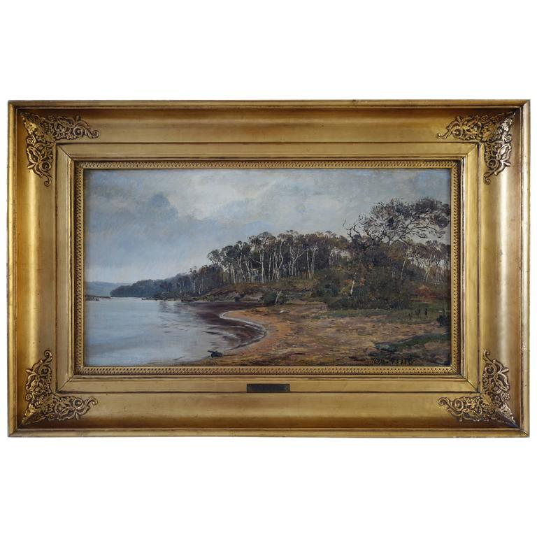 Janus La Cour, Coastal Landscape in October by Ringholm, 1873