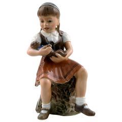 Dahl Jensen Figurine No. 1295, the Little Girl Bente by Jens Peter Dahl Jensen