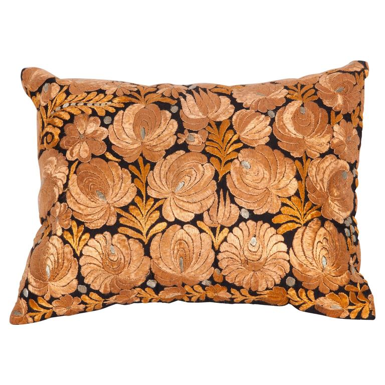 Antique Pillow Made Out of an Hungarian Matyo Embroidery For Sale