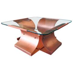 Aged Copper and Glass Coffee Table Attributed to Francois Monnet