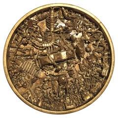 Toy Art Medallion Sculpture in Gold by J. Santamar