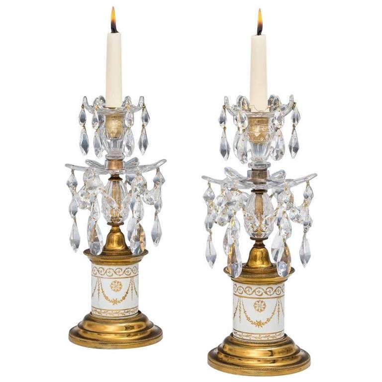Rare Pair of George III White Porcelain Base Candlesticks