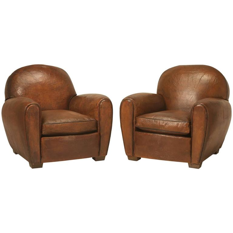 French Leather Club Chairs For Sale