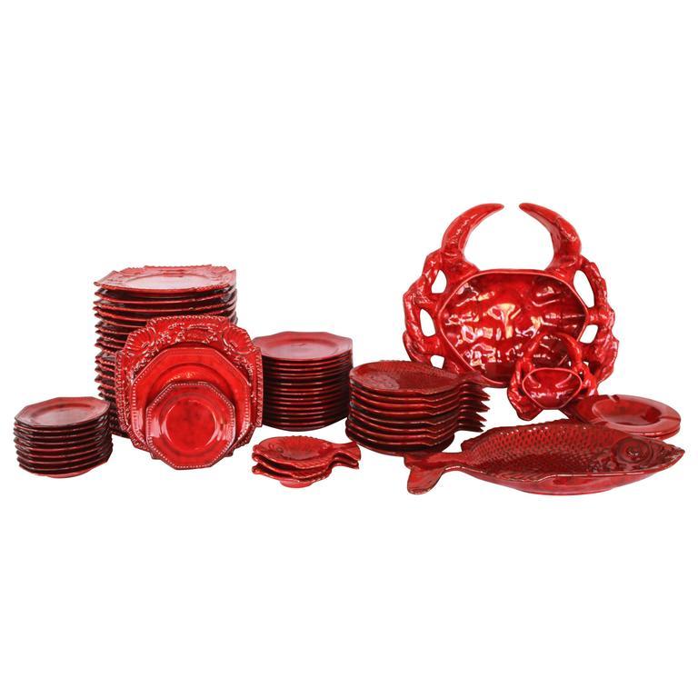 Italian Red Glazed Ceramic Dinner Set