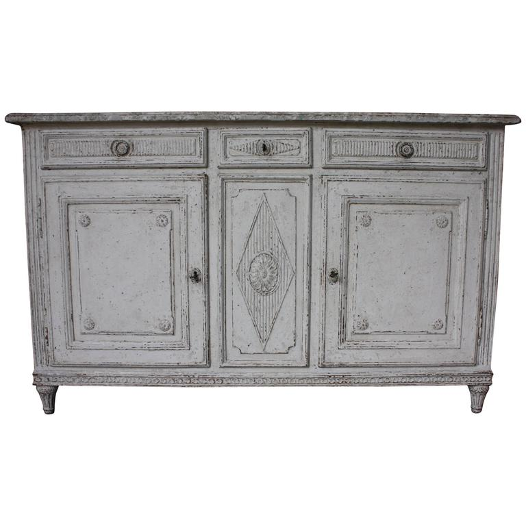 19th Century French Carved Painted Buffet with Faux Marble Top
