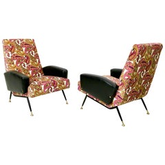 Pair of Patterned Velvet and Black Skai Armchairs, Italy 1950s
