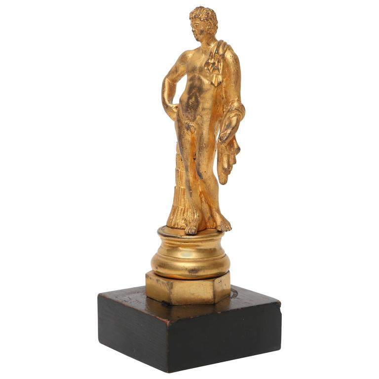 Gilt Bronze Statuette of the Belvedere Antinous, Italian, 19th Century For Sale
