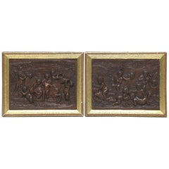 Pair of Bronze Plaquettes with Putti, Signed Clodion, French, 19th Century