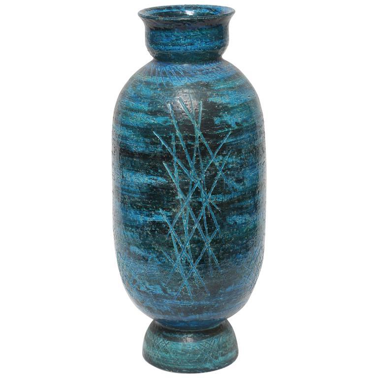 Large Aldo Londi Rimini Blue Brutalist Vase by Bitossi, Italy, 1960s For Sale