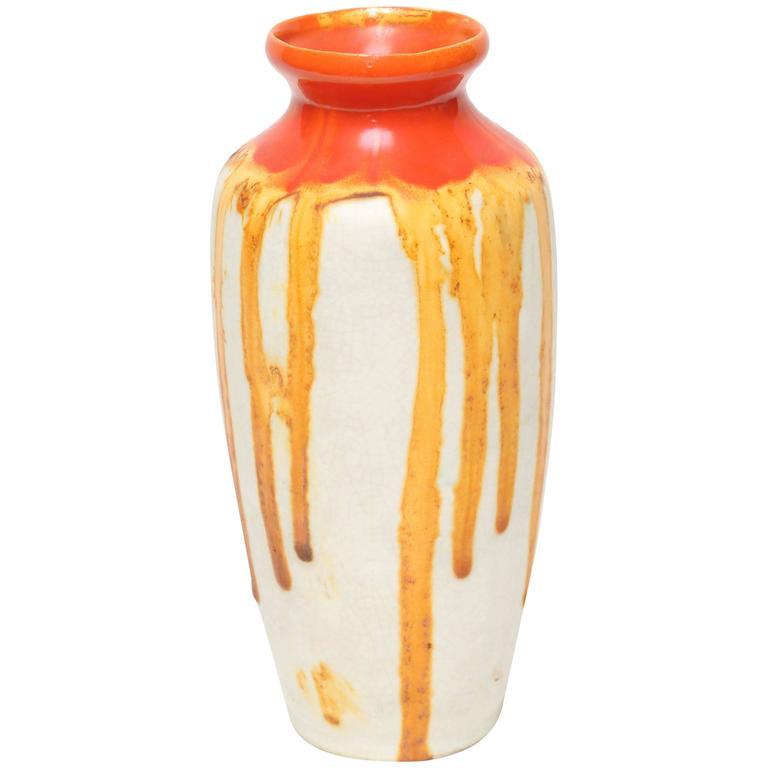 Ceramique de Bruxelles Art Deco Orange and Yellow Drip Vase, Belgium, circa 1920 1