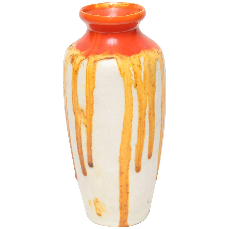 Ceramique de Bruxelles Art Deco Orange and Yellow Drip Vase, Belgium, circa 1920