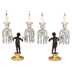 Exceptional Pair of Regency Period Gilt Bronze Cherub Candelabra