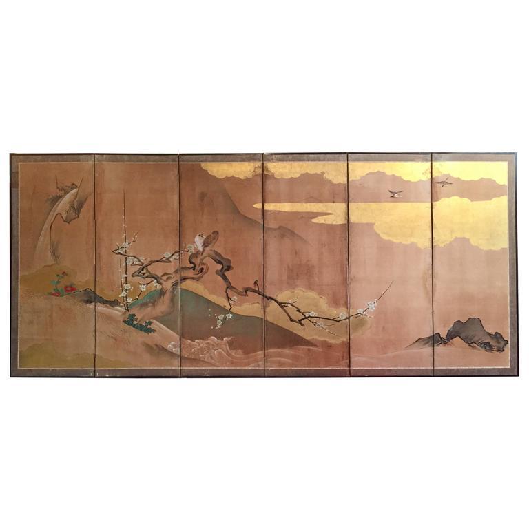 Edo Period Byobu Japanese Screen Cherry Blossoms and Birds