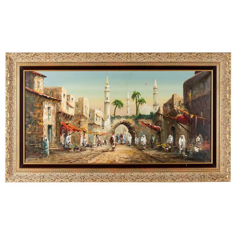 20th Century Oriental Oil Painting Signed F. Kohlschmidt