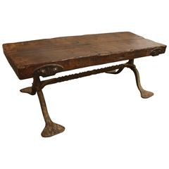 19th Century Coffee Table with Iron Base from France