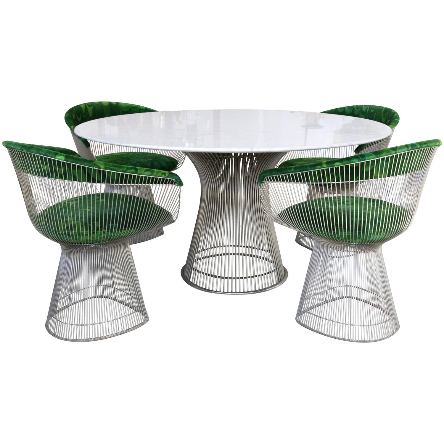 Warren Platner Knoll Marble Table Four Chairs Jack Lenor