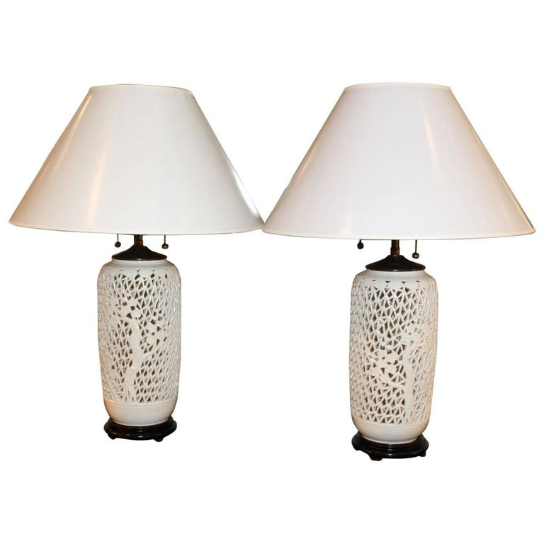 Pair of Late 20th Century Reticulated Lamps