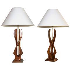 Pair of Mid-Century Teak Wood Lamps