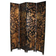 Chinese Black Lacquer and Gilt Decorated Four-Panel Screen
