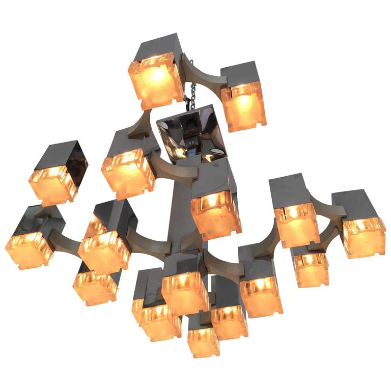 Chandelier Cubic by Sciolari. Italy, 1970s For Sale