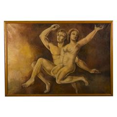 Oil Painting of Adam and Eve by M. Raemdonck, 1942