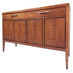 Petite Mid-Century Modern Credenza with Bowtie Inlay by Lane