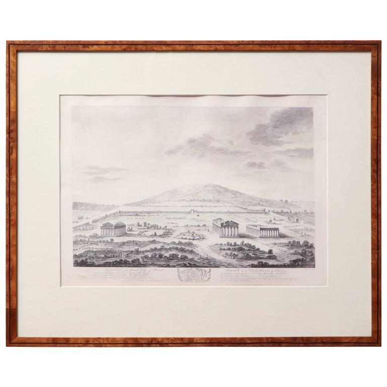 19th Century French Steel Engraving of the City of Pastum with Ruins